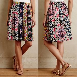 Anthropologie Weston Fez Multicolor Pleated Skirt